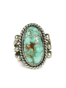 Number 8 Turquoise Ring Size 7 by Linda Yazzie