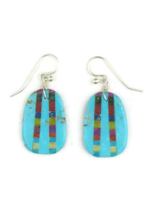 Turquoise & Gemstone Inlay Slab Earrings (ER3890)