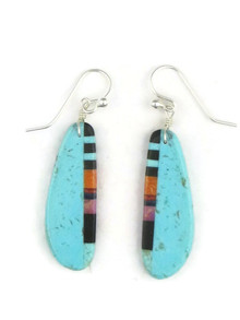Turquoise & Gemstone Inlay Slab Earrings (ER3892)