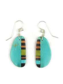 Turquoise & Gemstone Inlay Slab Earrings (ER3896)