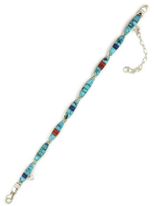 Turquoise, Coral & Lapis Inlay Link Bracelet (BR4233)