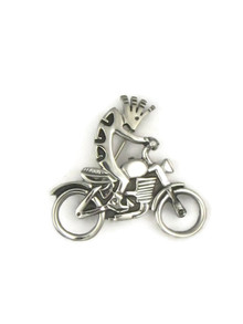 Silver Kokopelli Motorcycle Pin