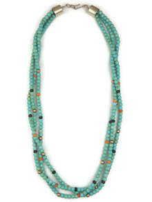 Three Strand Turquoise & Gemstone Bead Necklace by Ronald Chavez