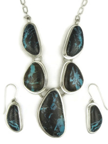 Sierra Nevada Boulder Turquoise Necklace & Earring Set by Lyle Piaso