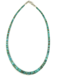 "Turquoise Heishi Necklace 17"" by Ronald Chavez"