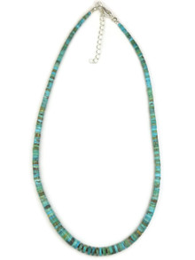 Turquoise Heishi Necklace with Extension Chain by Ronald Chavez