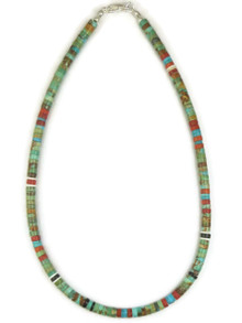 "Turquoise & Gemstone Heishi Necklace 15 3/4"" by Ronald Chavez (NK4476)"