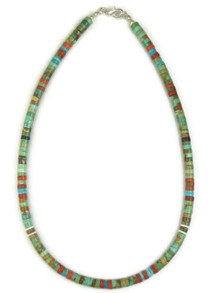 "Turquoise & Gemstone Heishi Necklace 15 3/4"" by Ronald Chavez (NK4477)"