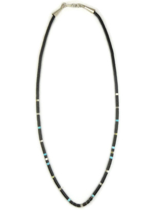 Jet, Turquoise & Mother of Pearl Heishi Necklace 19 1/2""