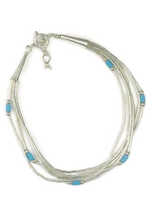 Five Strand Liquid Silver & Turquoise Bead Bracelet