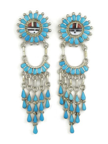 Turquoise Zuni Sunface Inlay Earrings by Larry Lonjose