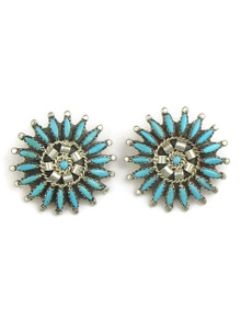 Turquoise Needle Point Cluster Clip On Earrings by Zuni Nathaniel Nez