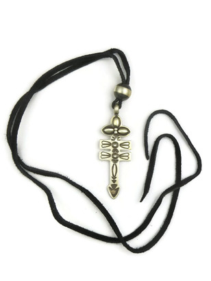 Double Bar Silver Cross Pendant on Leather by Darrell Cadman