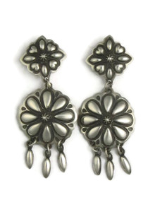 Handmade Silver Concho Dangle Earrings by Darryl Becenti