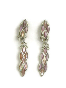 Pink Mother of Pearl Inlay Clip On Earrings