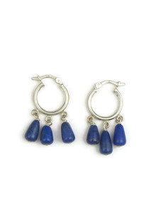 Lapis Bead Hoop Earrings