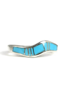 Turquoise Inlay Wave Ring Size 8