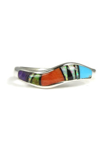 Multi Gemstone Inlay Wave Ring Size 7
