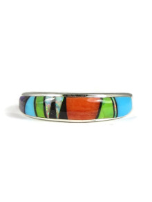 Multi Gemstone Inlay Band Ring Size 6 (RG3818)