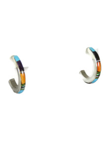 Multi Gemstone Inlay Hoop Earrings (ER3520)
