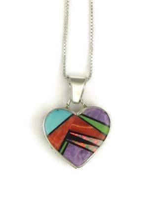 Multi Gemstone Inlay Heart Pendant by Calvin Begay (PD3830)