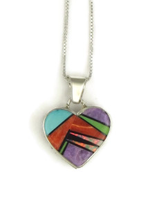 Multi Gemstone Inlay Heart Pendant by Calvin Begay (PD3830)