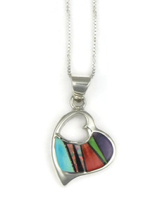 Multi Gemstone Inlay Heart Pendant (PD3831)