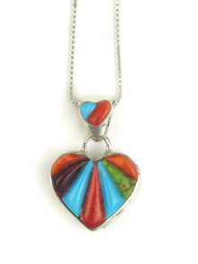 Sculpted Multi Gemstone Inlay Reversible Heart Pendant by Calvin Begay