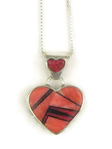Spiny Oyster Shell, Jet & Opal Inlay Reversible Heart Pendant by Calvin Begay (PD3833)