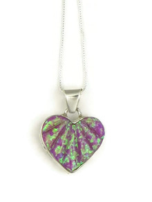 Sculpted Pink Opal Inlay Heart Pendant by Calvin Begay