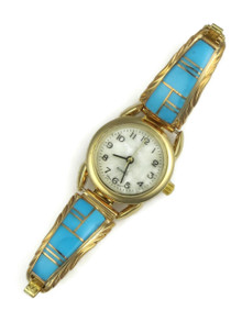 12k Gold & Silver Turquoise Inlay Watch (WTH823)