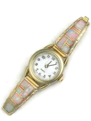 12k Gold & Silver Opal Inlay Watch (WTH824)