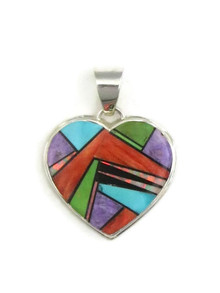 Multi Gemstone Inlay Heart Pendant (PD3837)