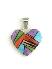 Multi Gemstone Inlay Reversible Heart Pendant (PD3840)