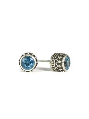 Blue Topaz Gallery Wire Stud Earrings