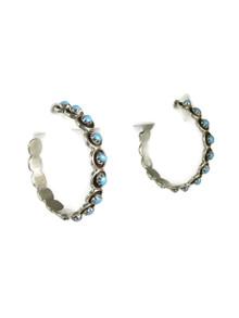 Turquoise Hoop Earrings by Zuni Florenda Lonasee