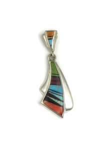Multi Gemstone Inlay Slide Pendant by Rick Tobias