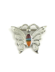 Multi Gemstone Inlay Butterfly Brooch - Pin by Ervin Hoskie (PN280)