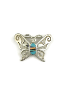 Turquoise, Jet & Opal Inlay Butterfly Pendant - Brooch Combo by Ervin Hoskie (PD283)
