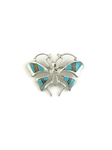 Turquoise, Jet & Opal Inlay Butterfly Brooch by Ervin Hoskie
