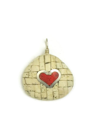 Clam Shell & Sponge Coral Inlay Heart Pendant by Ronald Chavez (PD3844)