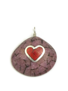 Purple Inlay Clam Shell & Sponge Coral Heart Pendant by Ronald Chavez