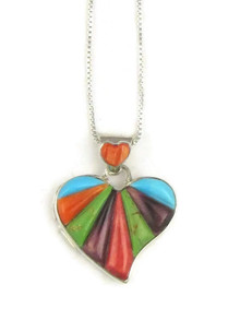 Sculpted Multi Gemstone Inlay Heart Pendant by Calvin Begay (PD3849)
