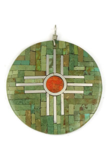 Mosaic Turquoise Inlay Zia Shell Pendant by Ronald Chavez