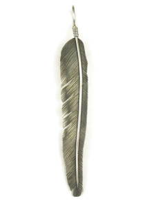 Long Silver Feather Pendant by Joe Piaso Jr.