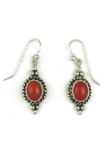Sterling Silver Mediterranean Coral Gallery Wire Earrings