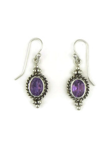 Sterling Silver Amethyst Gallery Wire Earrings