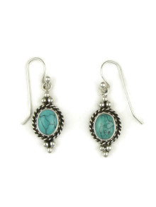 Sterling Silver Turquoise Gallery Wire Earring by Angela Martin