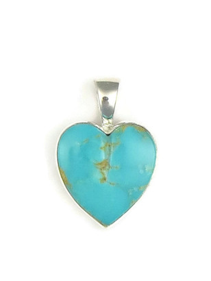 Kingman Turquoise Heart Pendant by Bernise Chavez (PD3853)