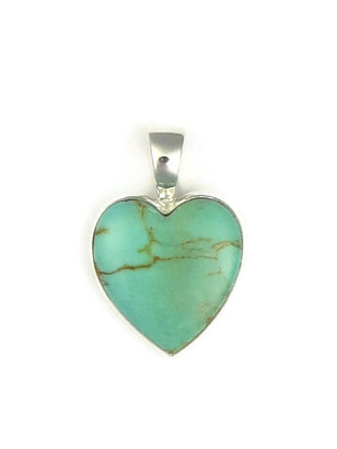 Kingman Turquoise Heart Pendant by Bernise Chavez (PD3854)